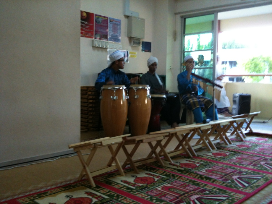 The percussion ensemble that backed the nasyid performance